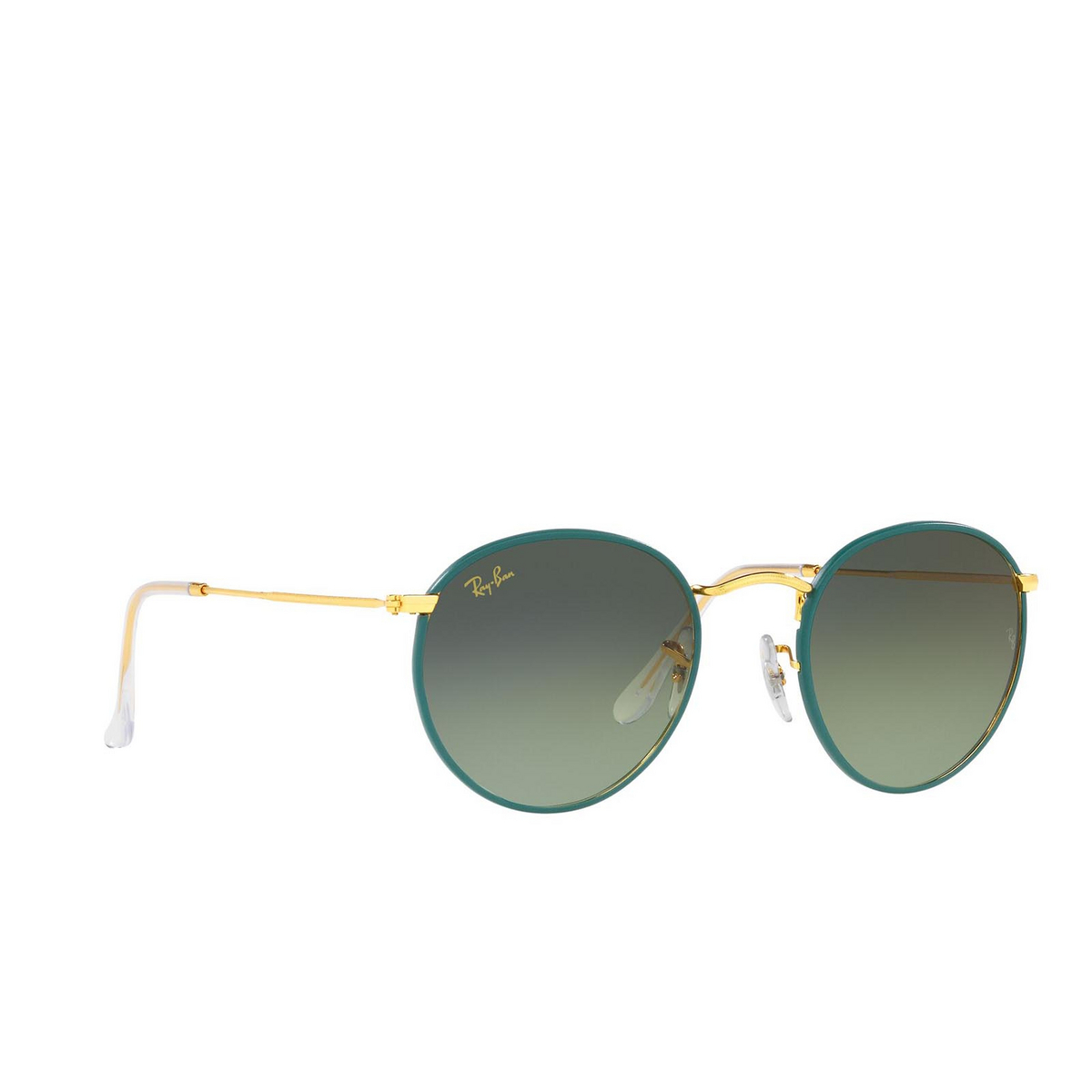 Ray-Ban® Round Sunglasses: Round Full Color RB3447JM color Petroleum On A Legend Gold 9196BH.