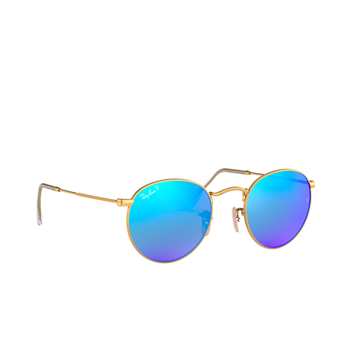 Ray-Ban® Round Sunglasses: Round Metal RB3447 color Matte Arista 112/4L - three-quarters view.