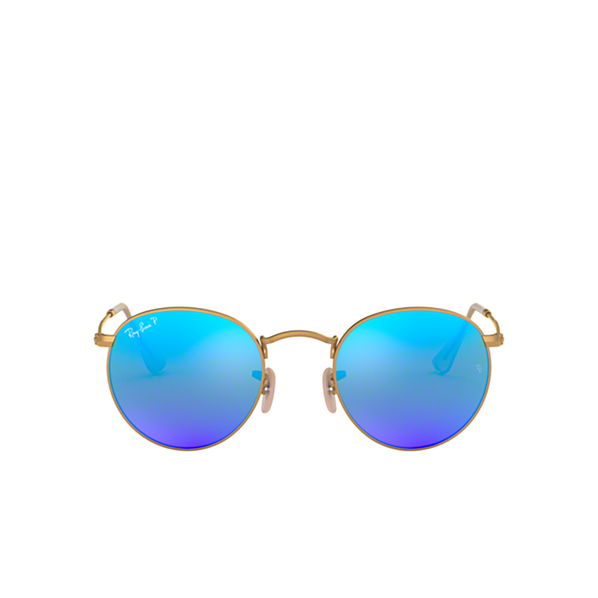 Ray-Ban® Round Sunglasses: Round Metal RB3447 color Matte Arista 112/4L - front view.