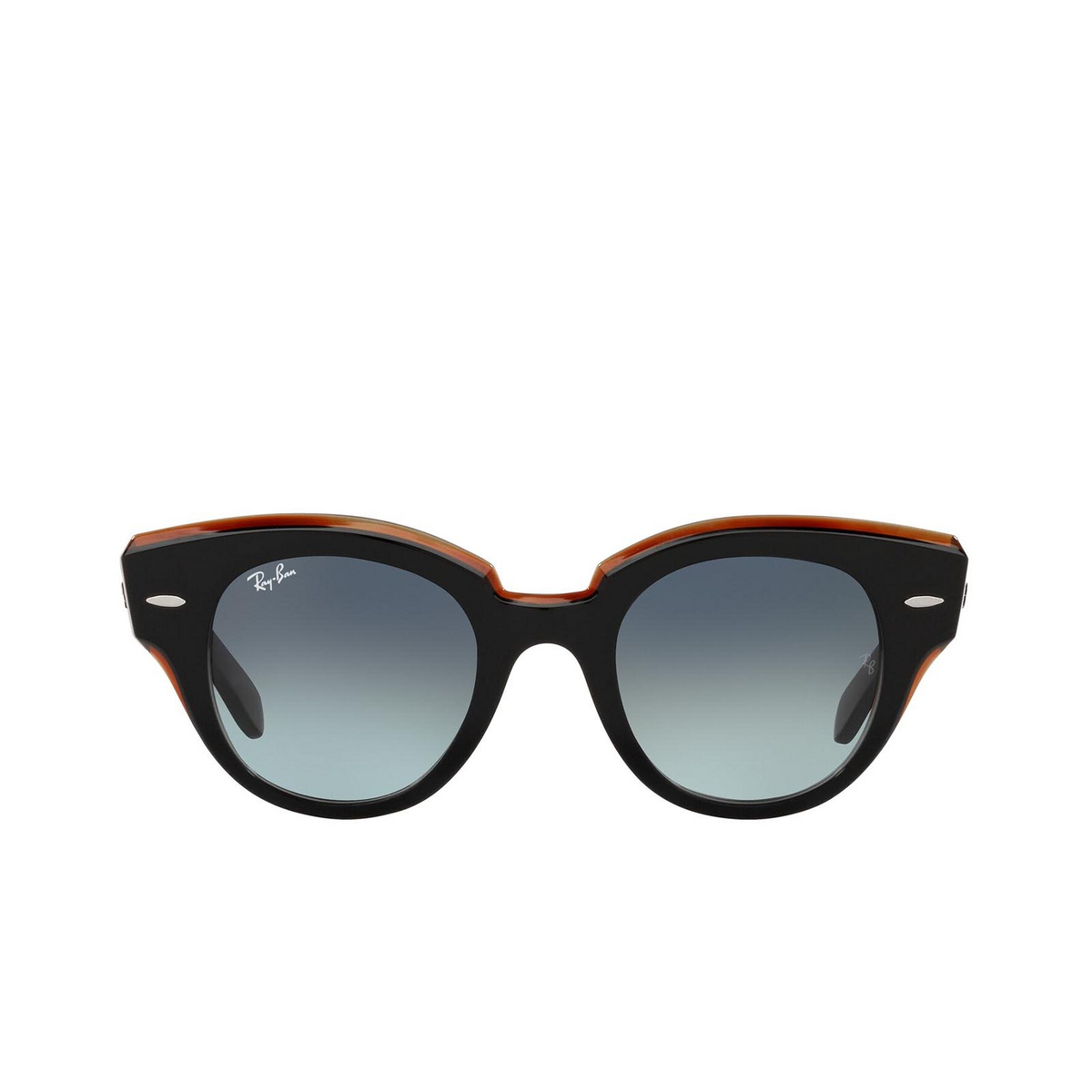Ray-Ban® Round Sunglasses: Roundabout RB2192 color Black On Transparent Brown 132241.