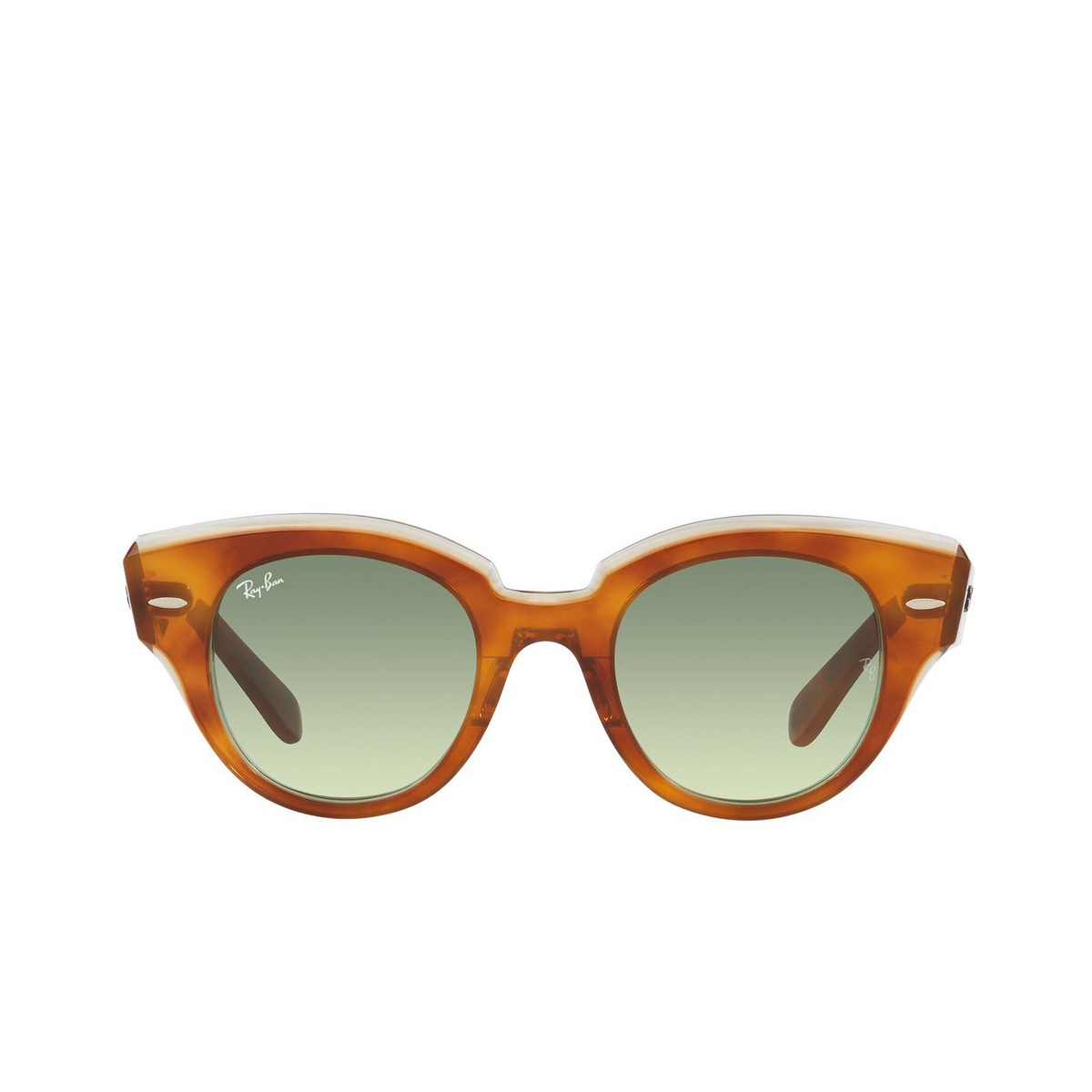 Ray-Ban® Round Sunglasses: Roundabout RB2192 color Havana On Transparent Green 1325BH.