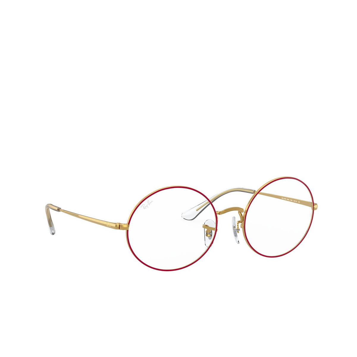 Ray-Ban® Oval Eyeglasses: Oval RX1970V color Red On Legend Gold 3106 - three-quarters view.