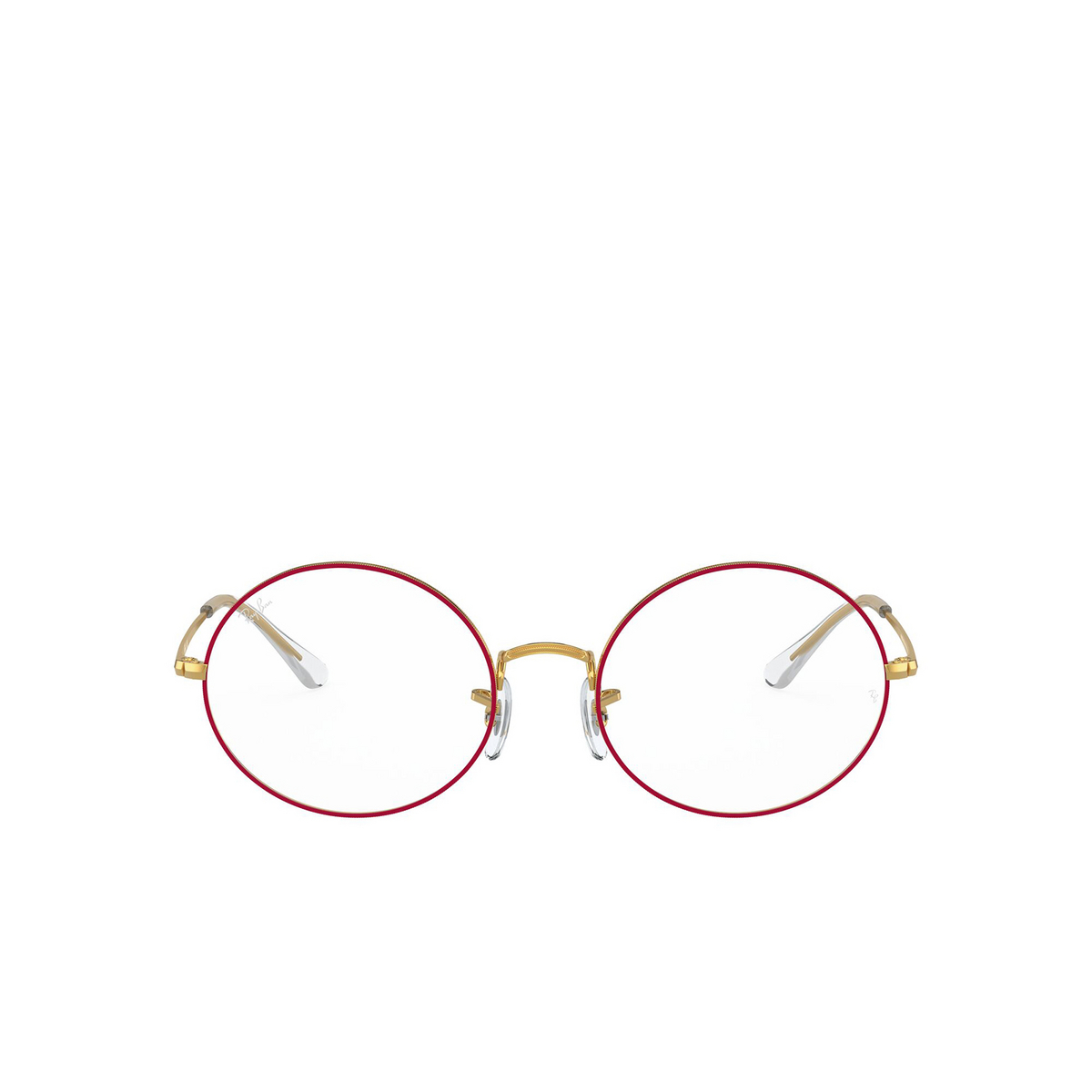 Ray-Ban® Oval Eyeglasses: Oval RX1970V color Red On Legend Gold 3106 - front view.