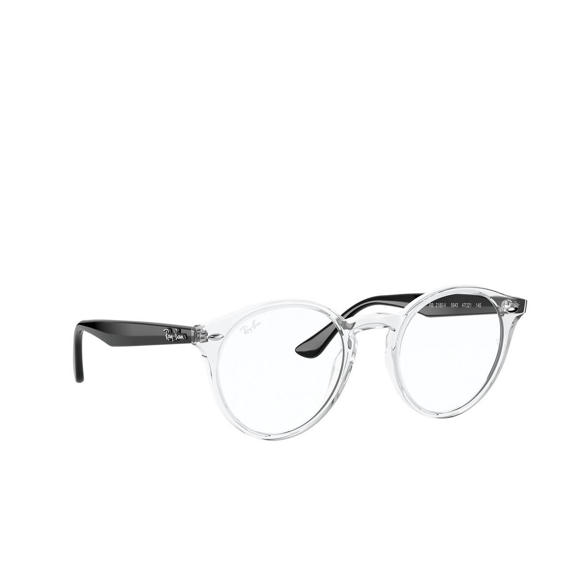 Ray-Ban® Round Eyeglasses: RX2180V color Transparent 5943 - three-quarters view.