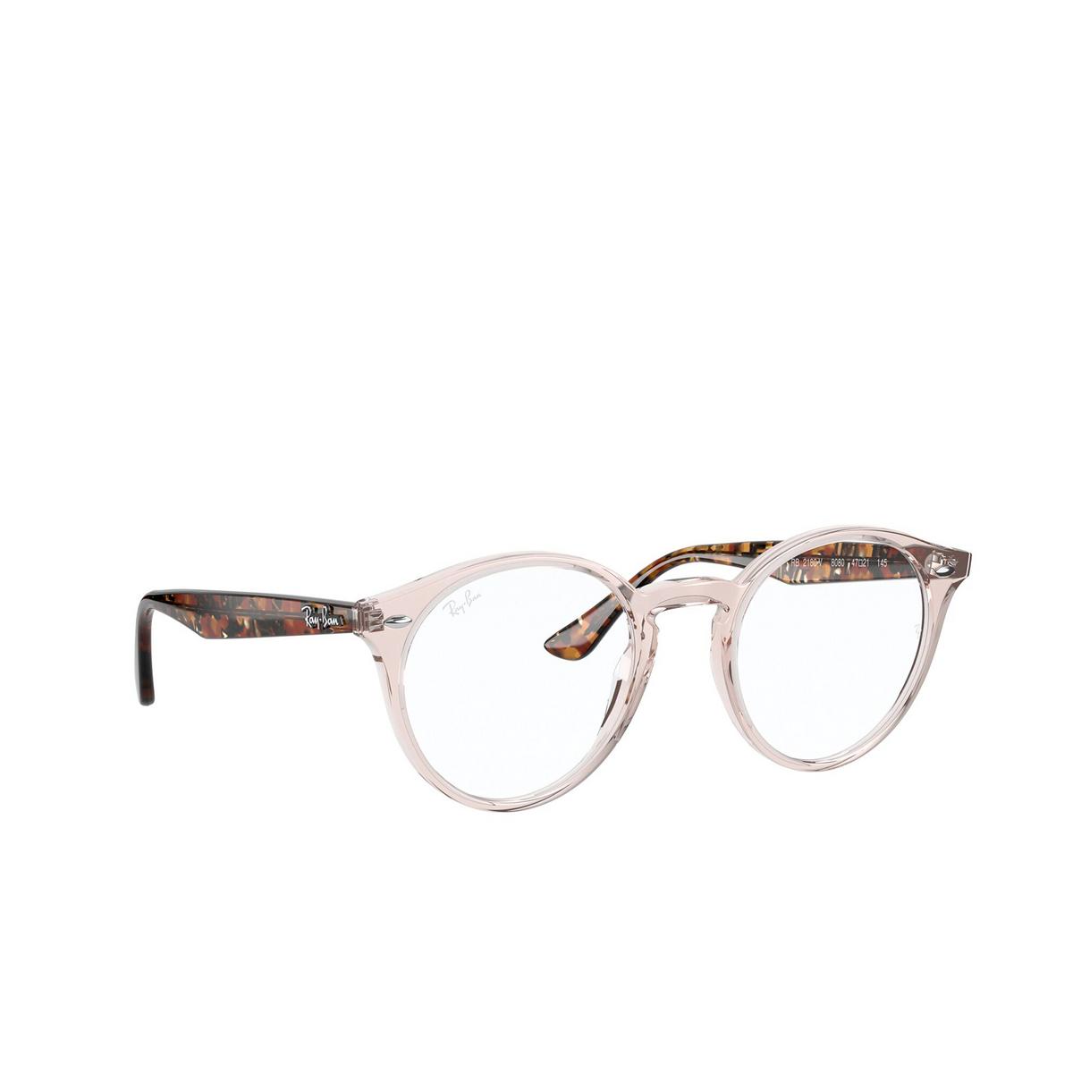 Ray-Ban® Round Eyeglasses: RX2180V color Transparent Light Brown 8080 - three-quarters view.