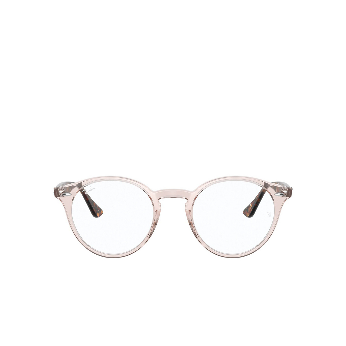 Ray-Ban® Round Eyeglasses: RX2180V color Transparent Light Brown 8080 - front view.