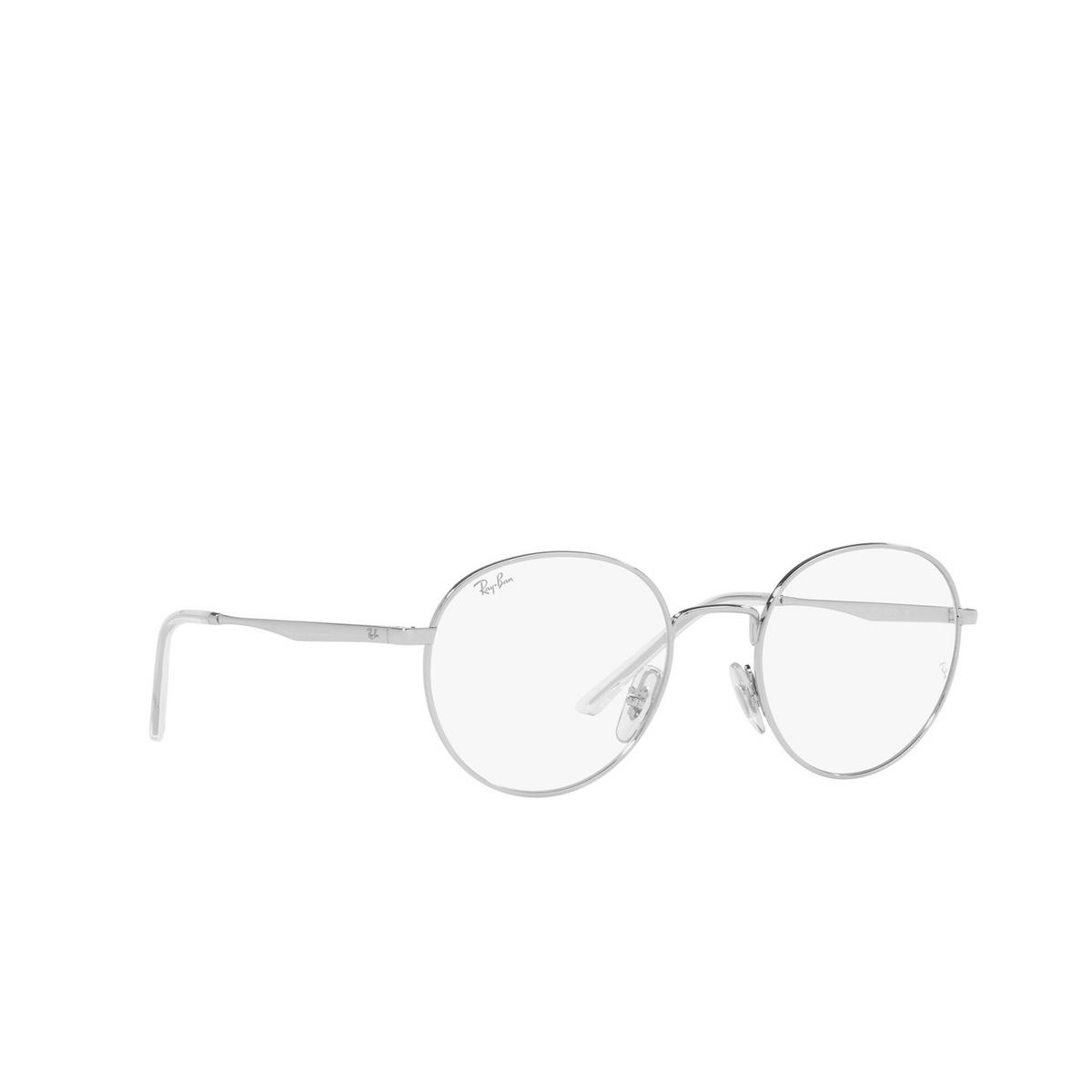 Ray-Ban® Round Eyeglasses: RX3681V color Silver 2501 - three-quarters view.