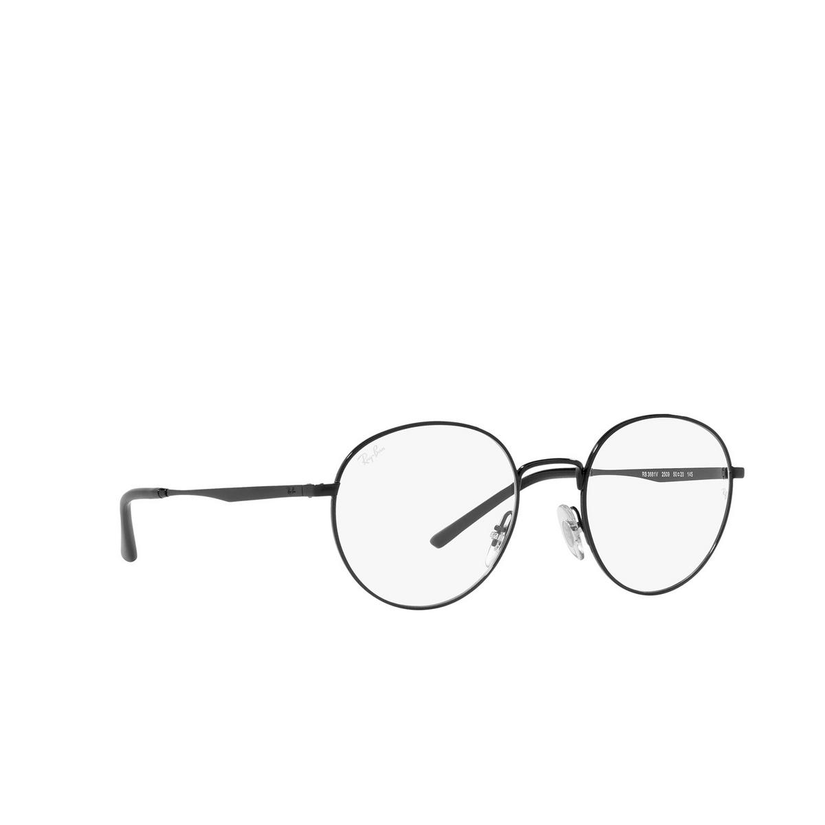 Ray-Ban® Round Eyeglasses: RX3681V color Black 2509 - three-quarters view.