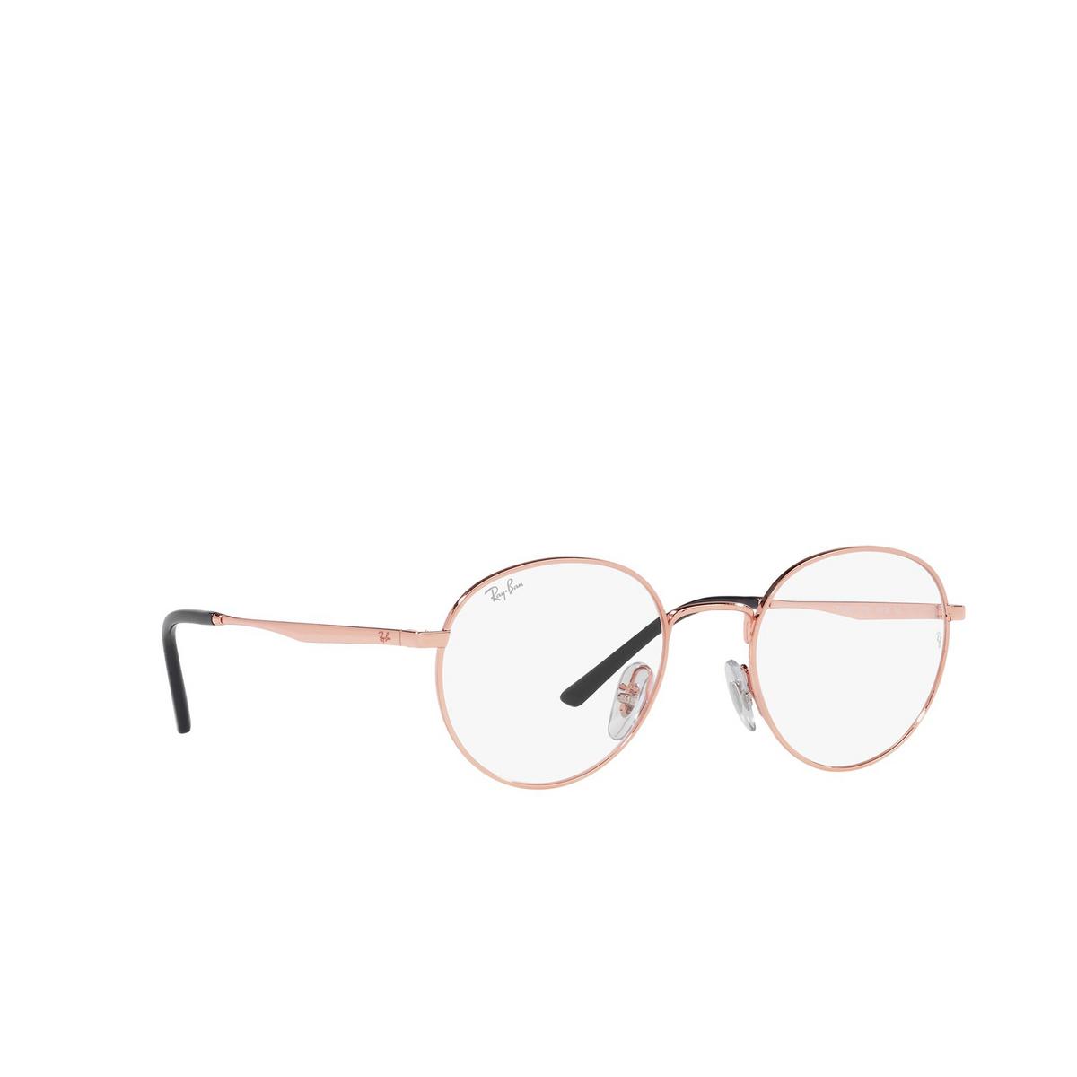 Ray-Ban® Round Eyeglasses: RX3681V color Rose Gold 3094 - three-quarters view.