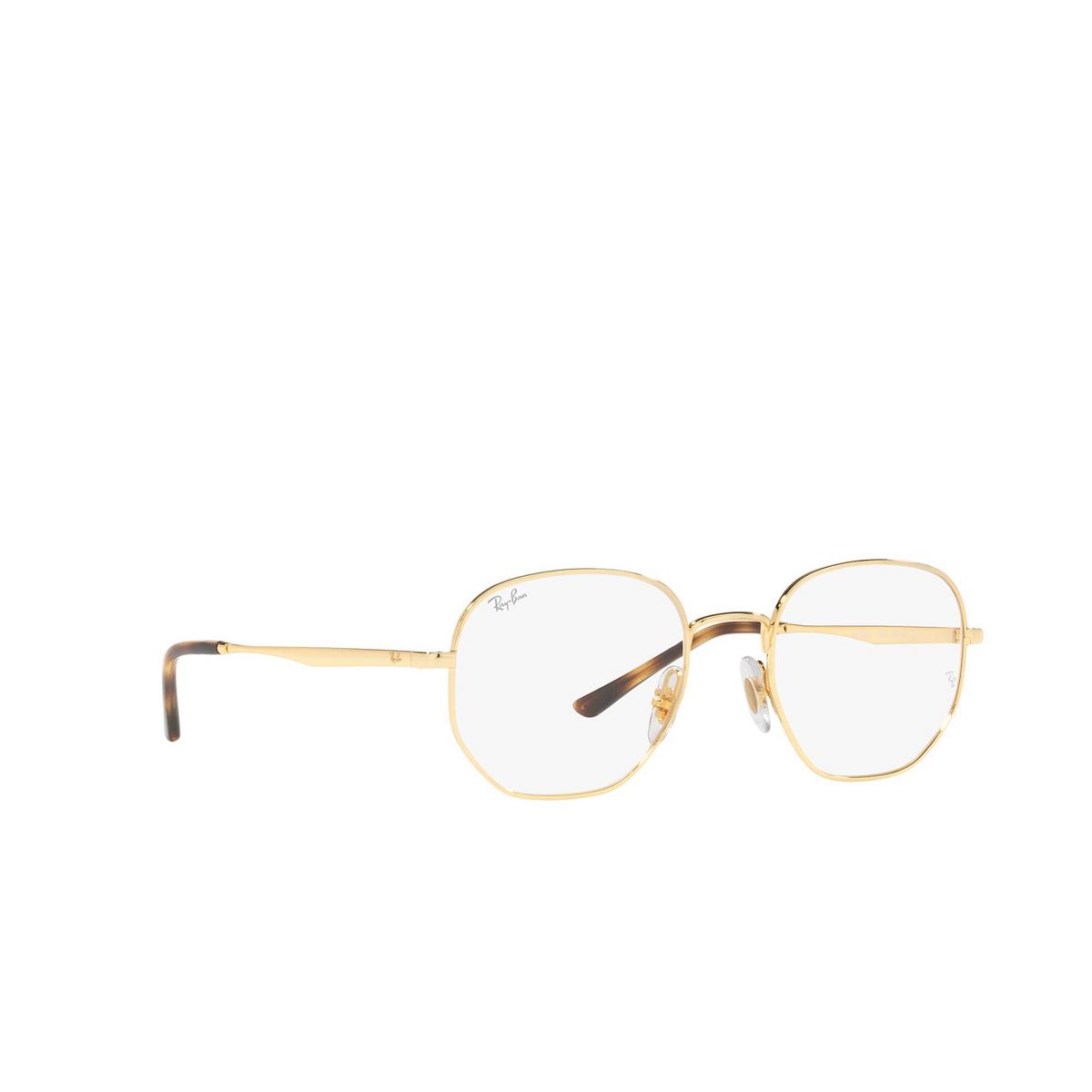 Ray-Ban® Irregular Eyeglasses: RX3682V color Gold 2500 - three-quarters view.