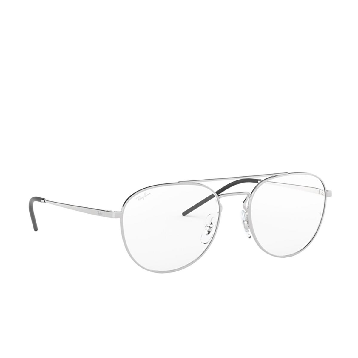 Ray-Ban® Aviator Eyeglasses: RX6414 color Silver 2501 - three-quarters view.