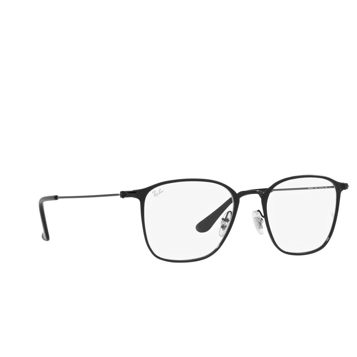 Ray-Ban® Square Eyeglasses: RX6466 color Matte Black On Black 2904.