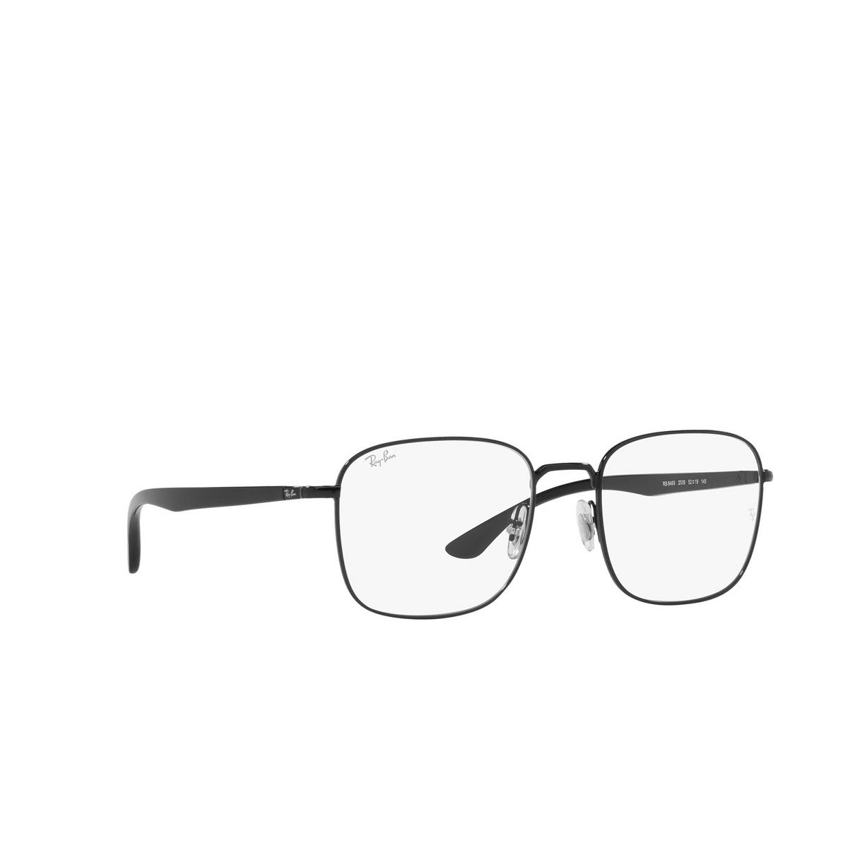 Ray-Ban® Square Eyeglasses: RX6469 color Black 2509 - three-quarters view.
