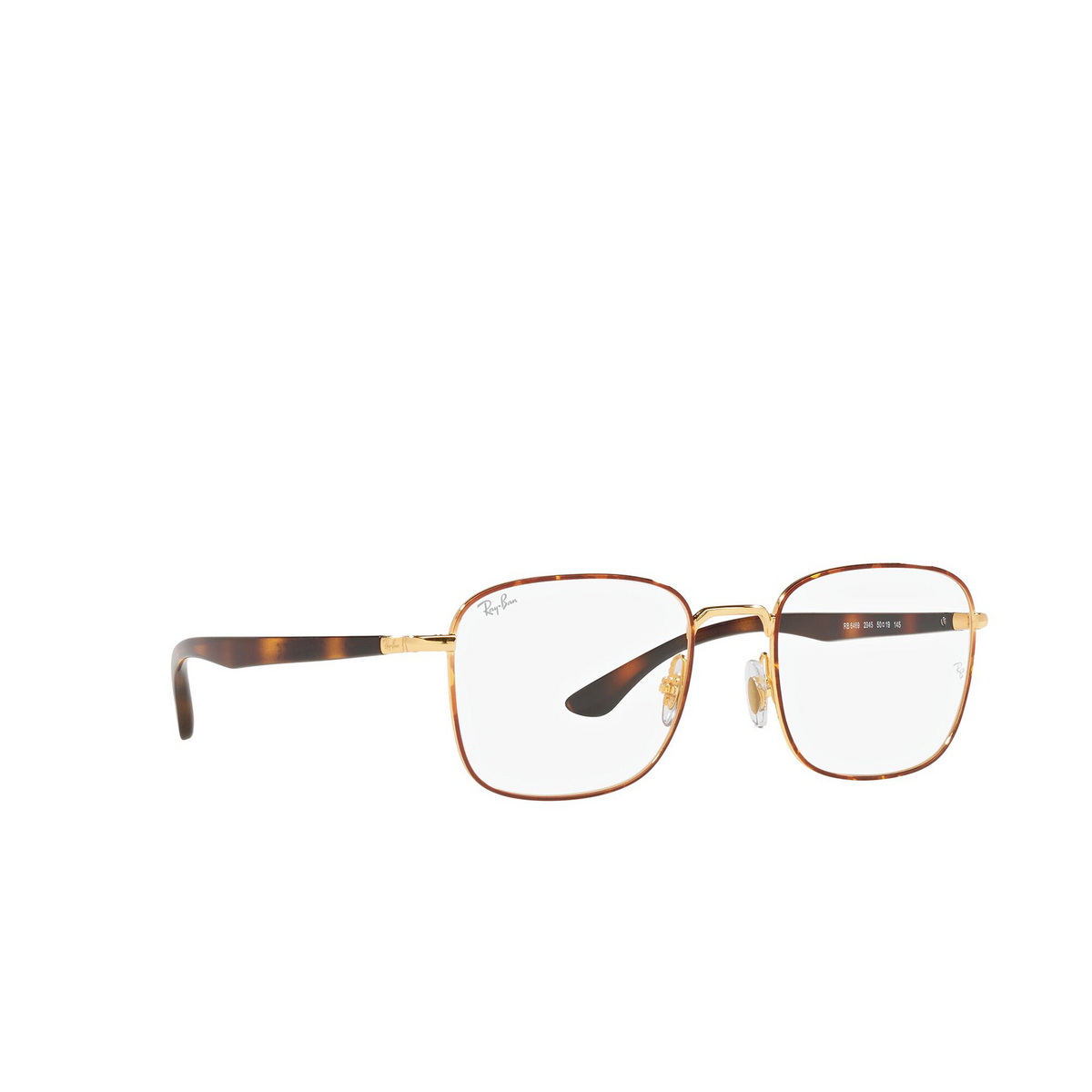Ray-Ban® Square Eyeglasses: RX6469 color Havana On Arista 2945 - three-quarters view.