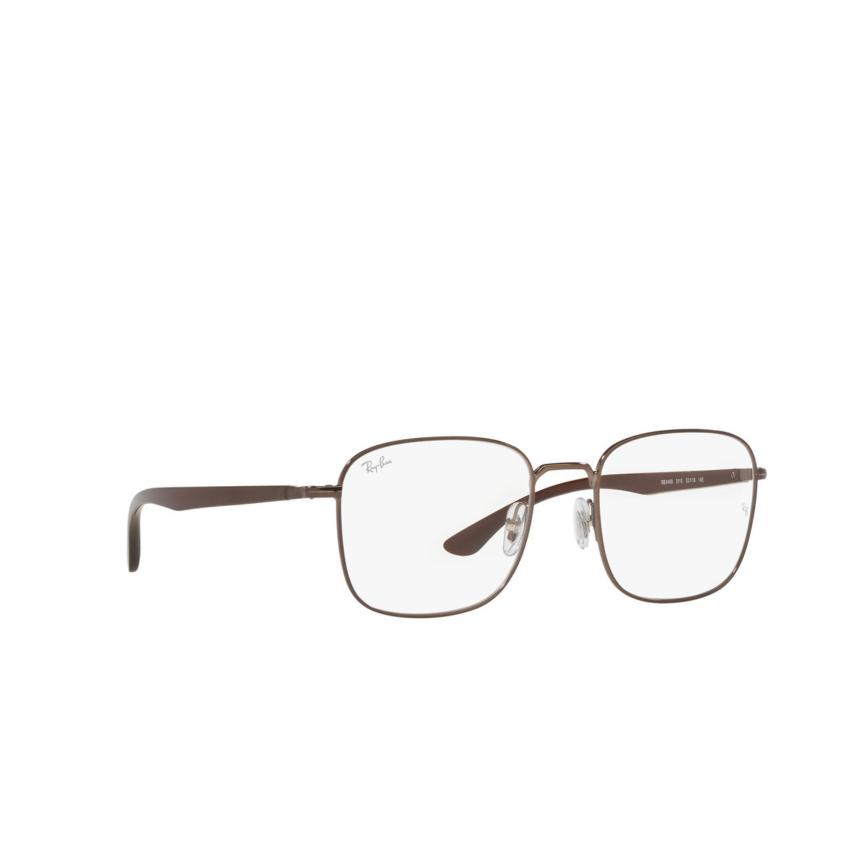Ray-Ban® Square Eyeglasses: RX6469 color Dark Brown 3110 - three-quarters view.