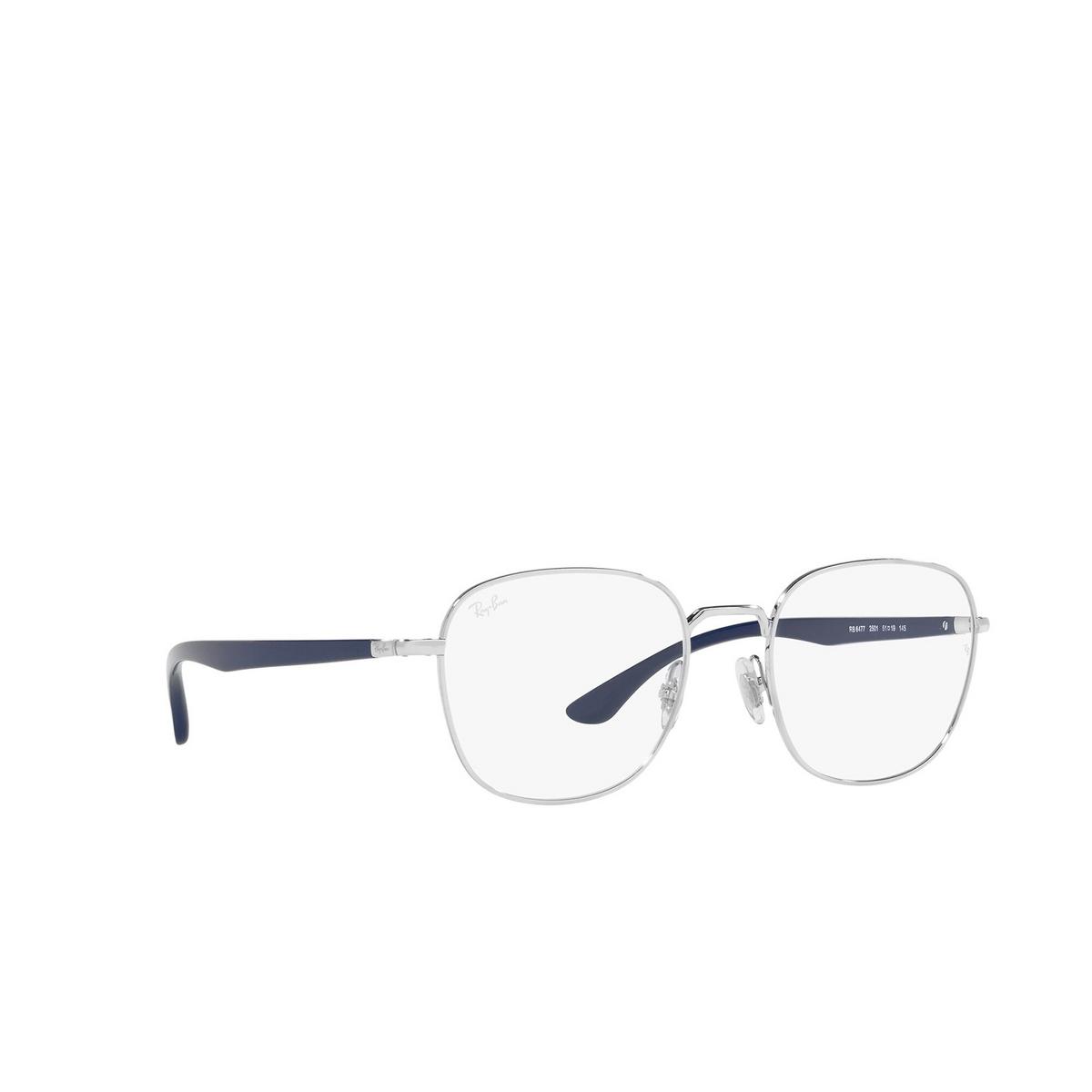 Ray-Ban® Square Eyeglasses: RX6477 color Silver 2501 - three-quarters view.