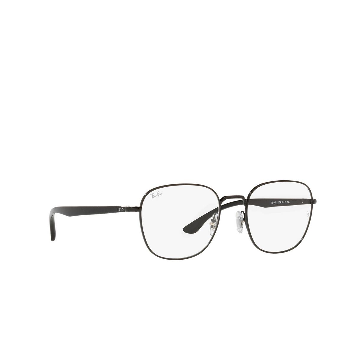 Ray-Ban® Square Eyeglasses: RX6477 color Black 2509 - three-quarters view.