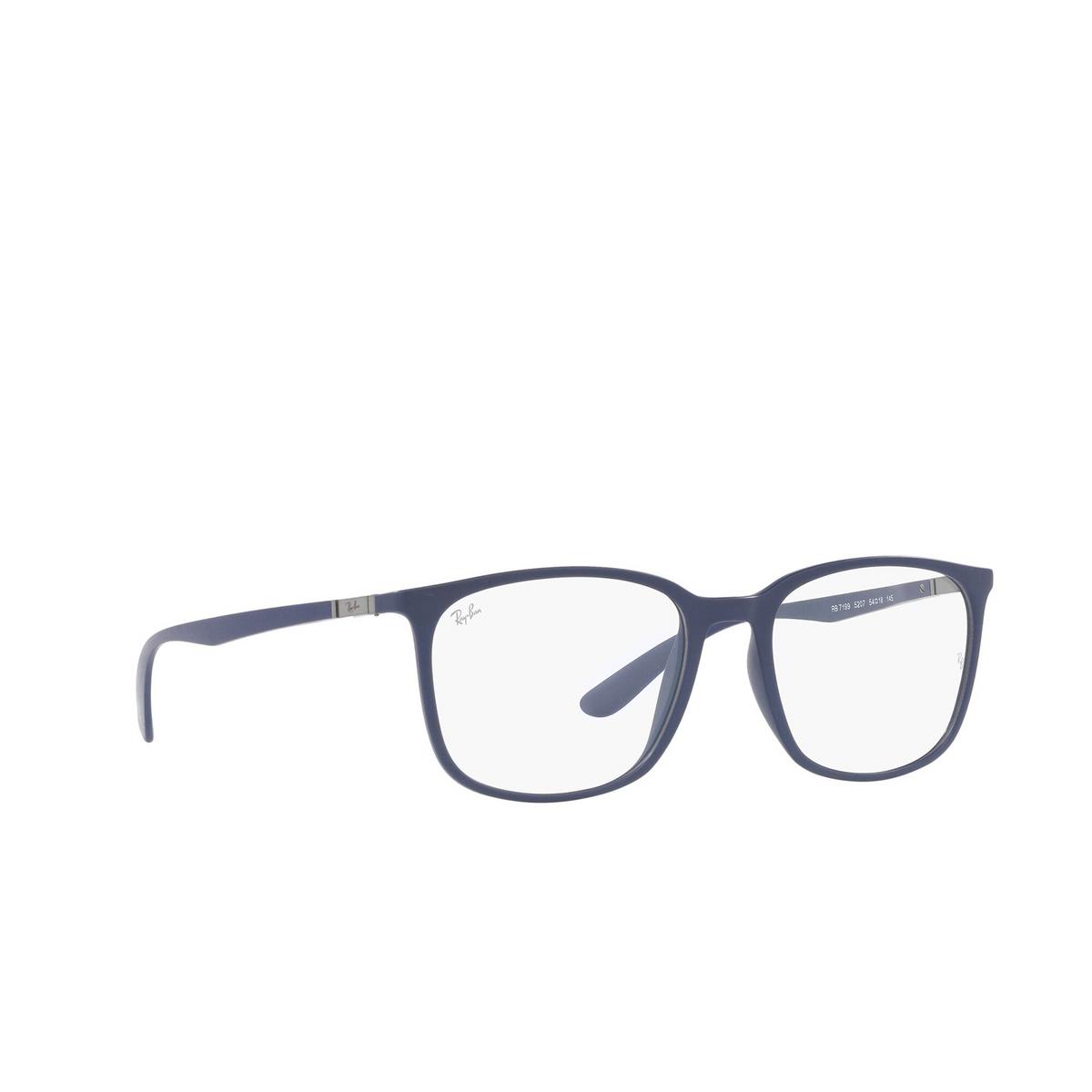 Ray-Ban® Square Eyeglasses: RX7199 color Sand Blue 5207 - three-quarters view.