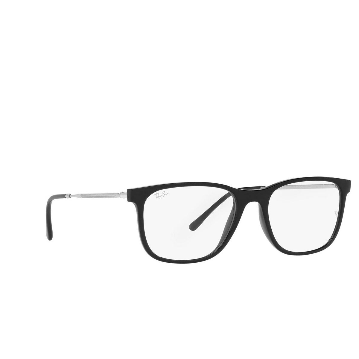 Ray-Ban® Square Eyeglasses: RX7244 color Black 2000 - three-quarters view.