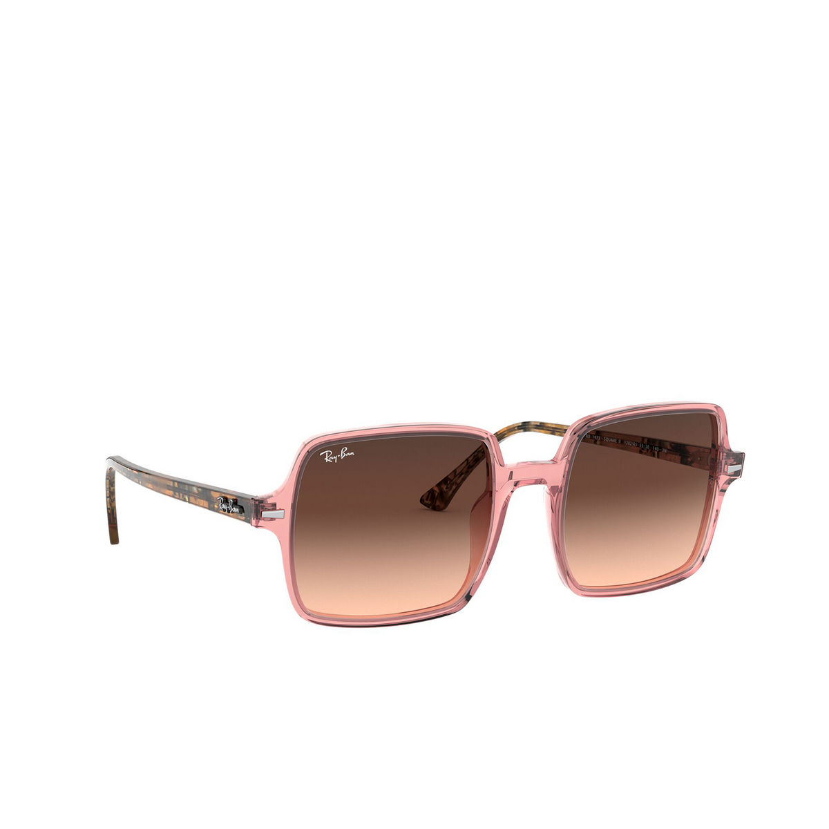 Ray-Ban® Square Sunglasses: Square Ii RB1973 color Transparent Pink 1282A5 - three-quarters view.