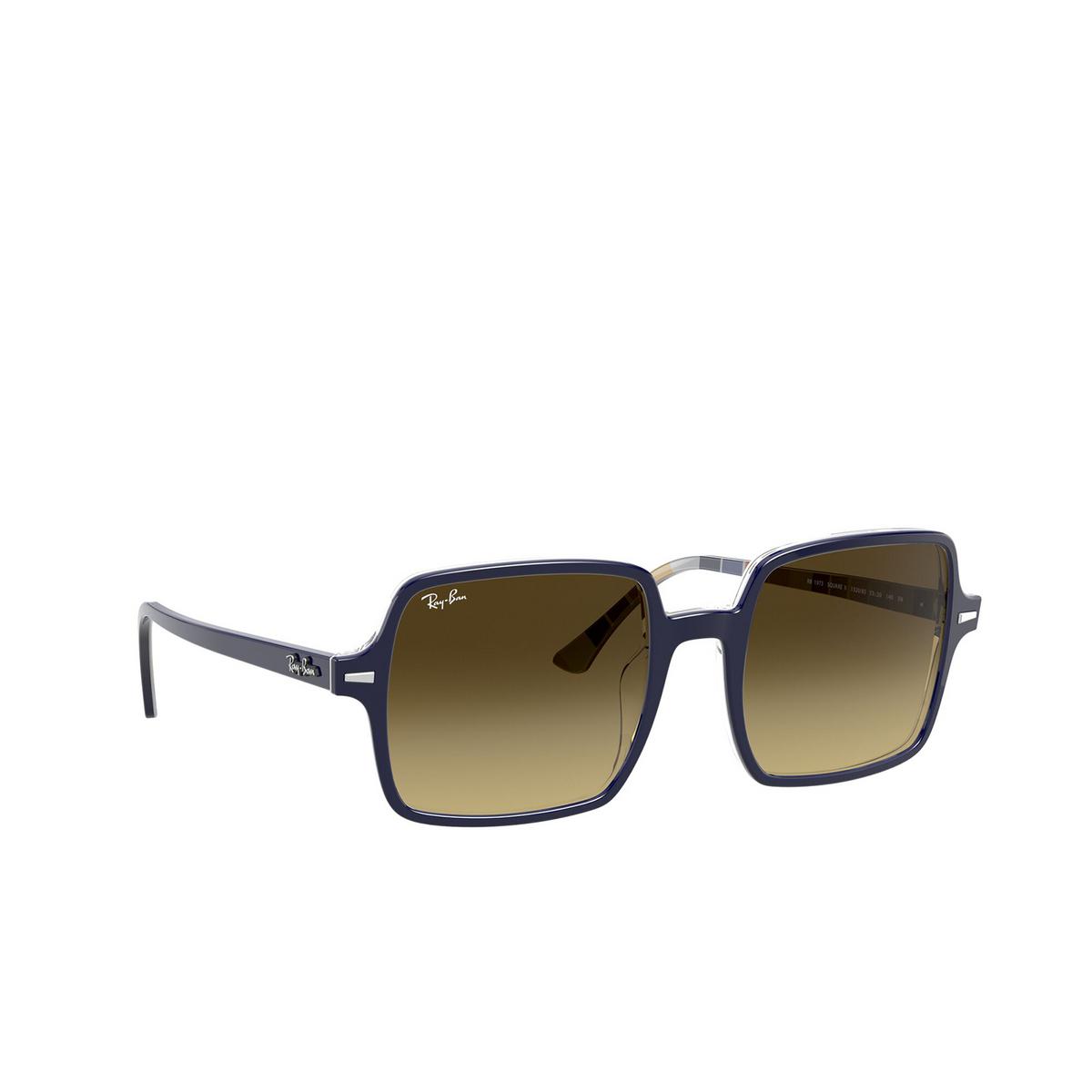 Ray-Ban® Square Sunglasses: Square Ii RB1973 color Blue Stripes 132085 - three-quarters view.
