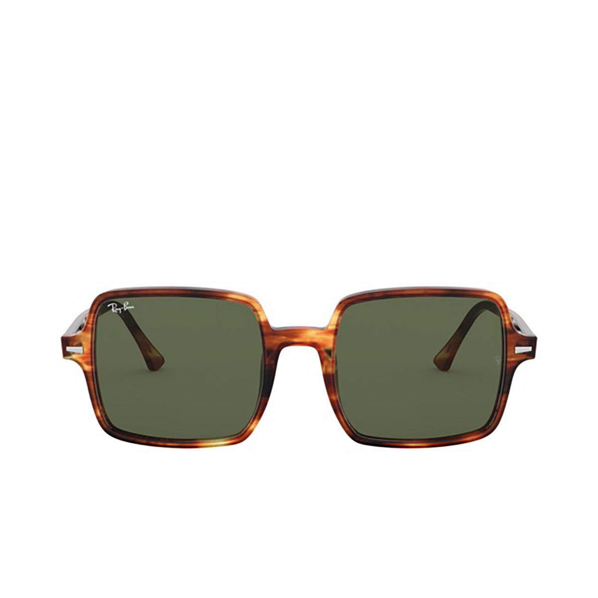 Ray-Ban® Square Sunglasses: Square Ii RB1973 color Striped Havana 954/31 - front view.