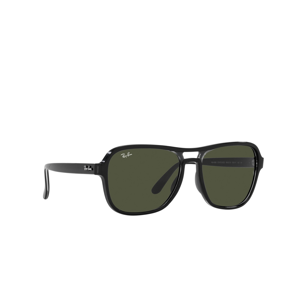 Ray-Ban® Square Sunglasses: State Side RB4356 color Black Transparent Black 654531 - three-quarters view.