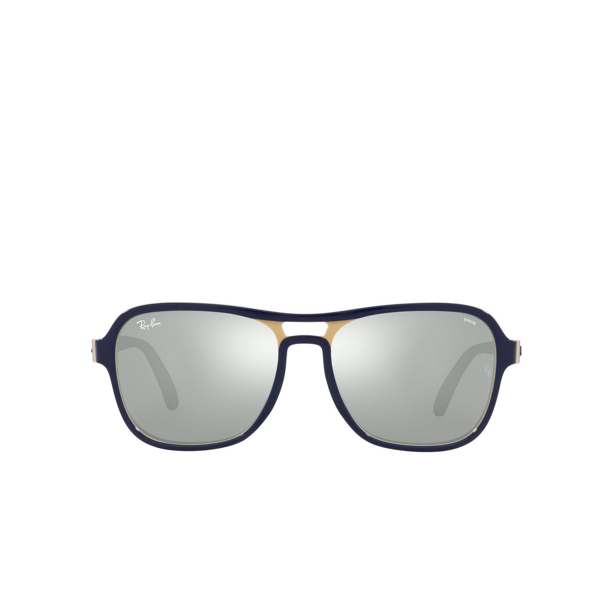 Ray-Ban® Square Sunglasses: State Side RB4356 color Blu Creamy Light Blu 6546W3 - front view.