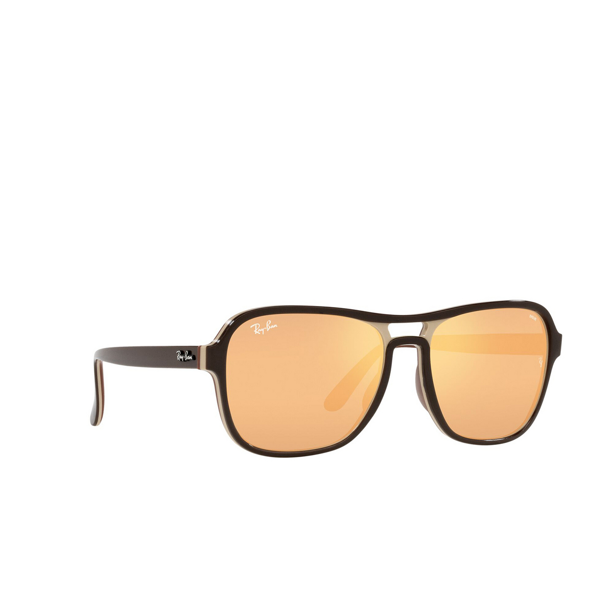 Ray-Ban® Square Sunglasses: State Side RB4356 color Dark Brown Light Brown 6547B4 - three-quarters view.