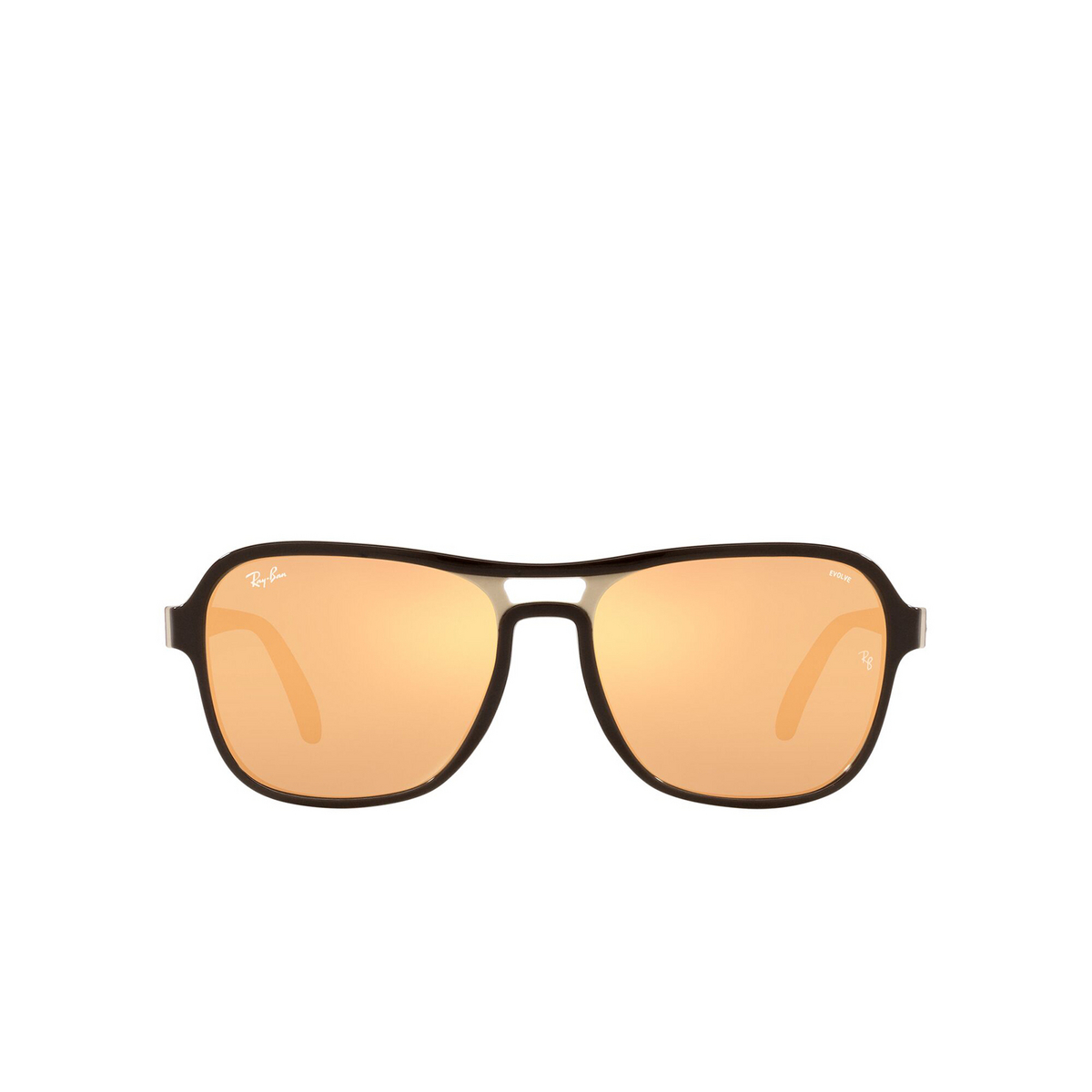 Ray-Ban® Square Sunglasses: State Side RB4356 color Dark Brown Light Brown 6547B4 - front view.