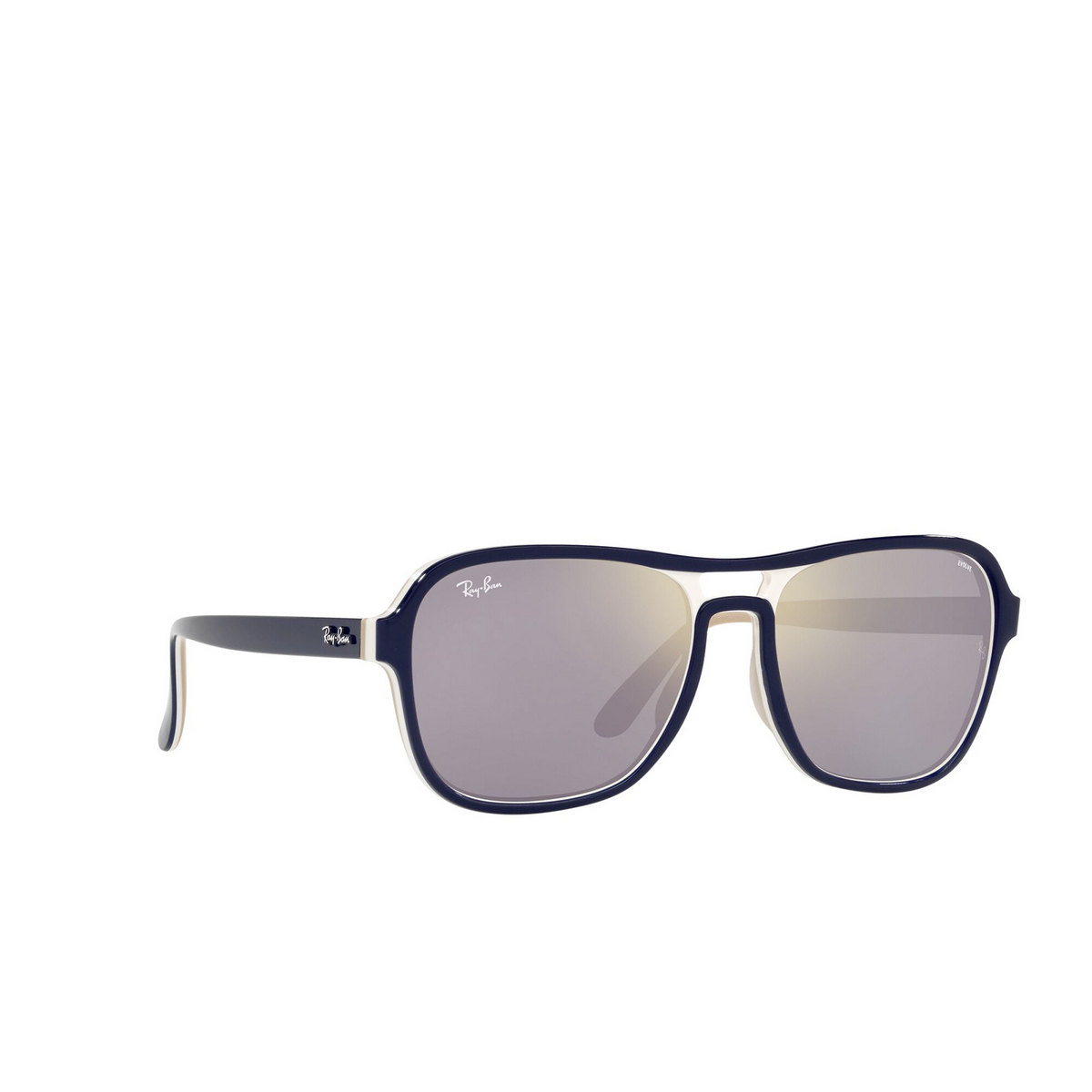 Ray-Ban® Square Sunglasses: State Side RB4356 color Blu Creamy Light Brown 6548B3 - three-quarters view.