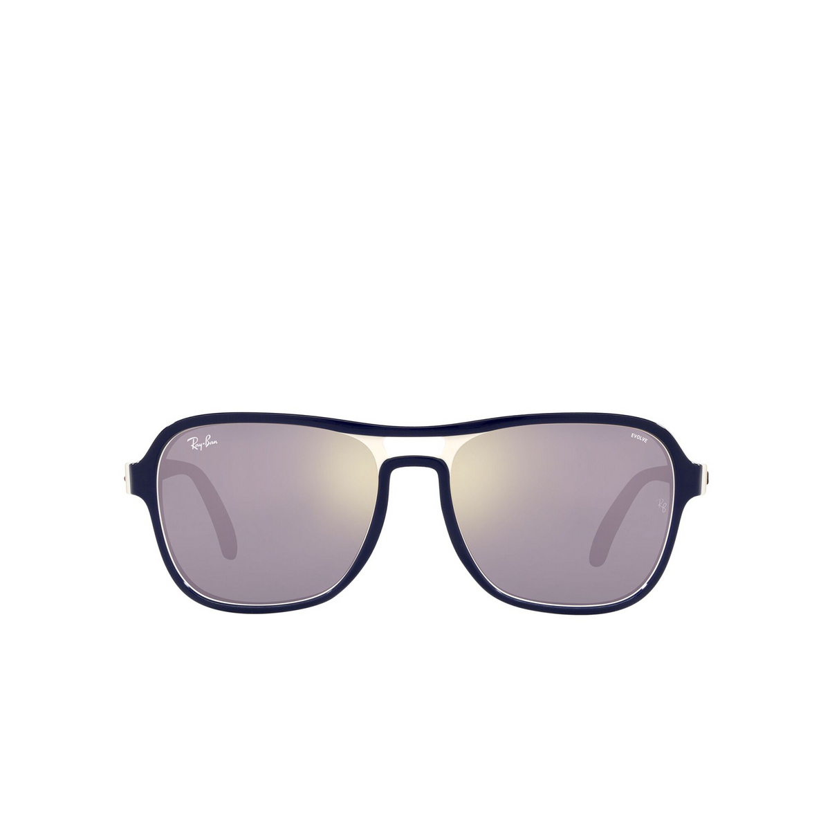 Ray-Ban® Square Sunglasses: State Side RB4356 color Blu Creamy Light Brown 6548B3 - front view.