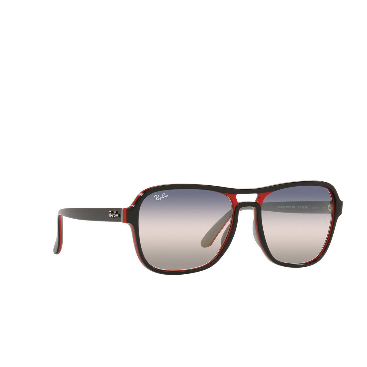 Ray-Ban® Square Sunglasses: State Side RB4356 color Black Red Light Gray 6549GE - three-quarters view.