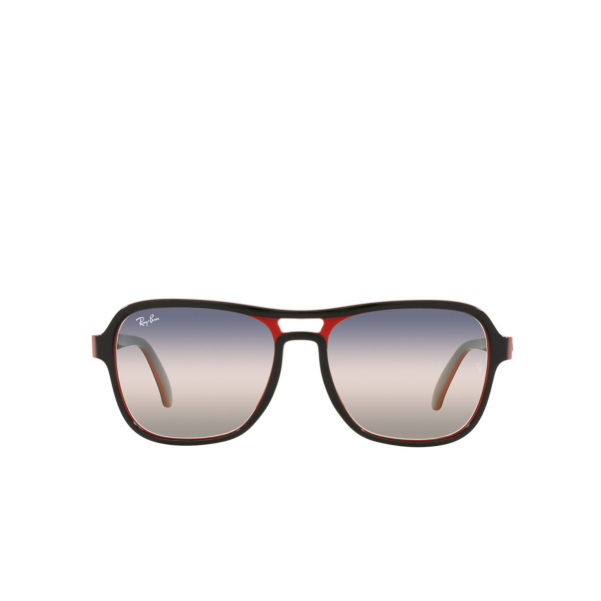 Ray-Ban® Square Sunglasses: State Side RB4356 color Black Red Light Gray 6549GE - front view.