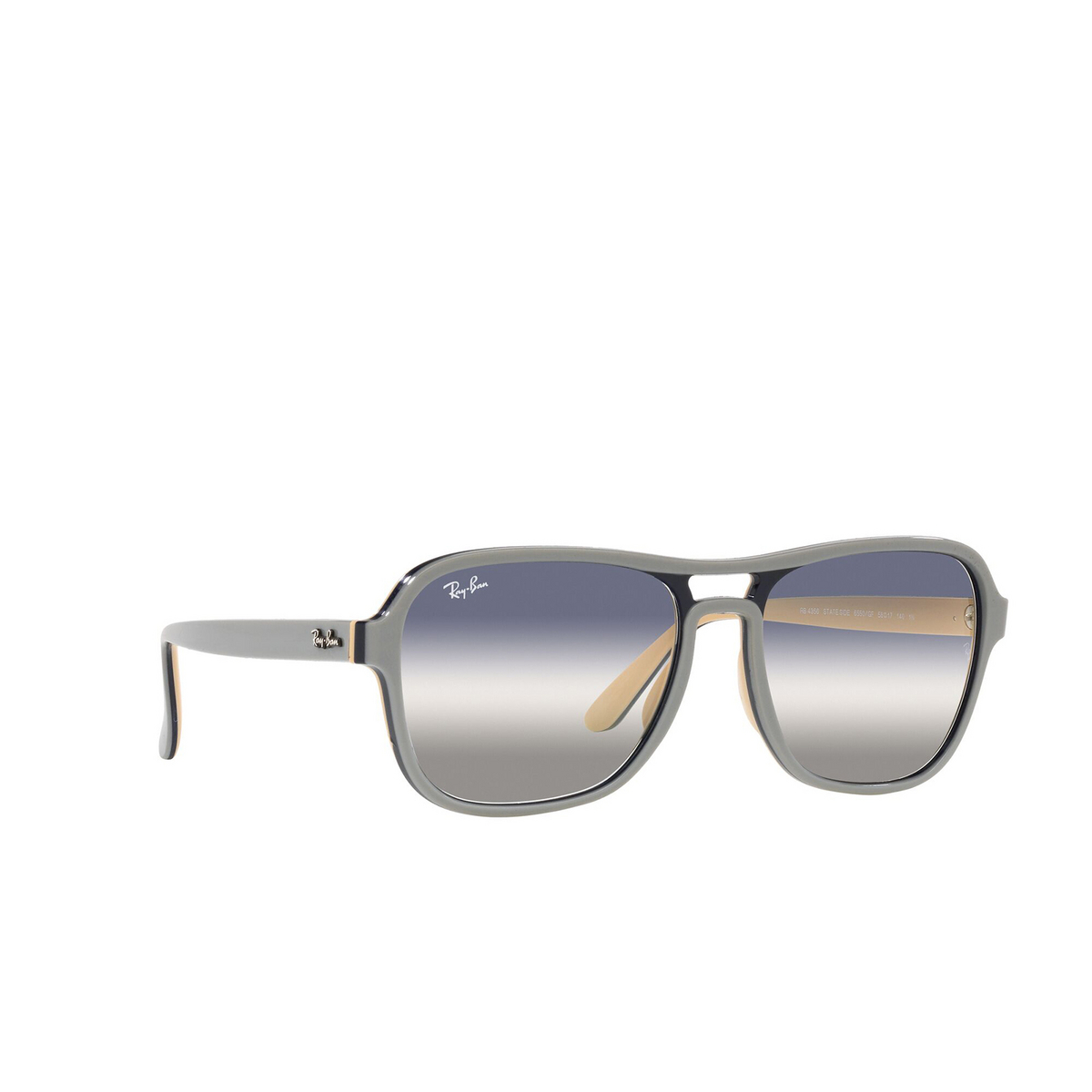 Ray-Ban® Square Sunglasses: State Side RB4356 color Light Gray Blu Light Brown 6550GF - three-quarters view.