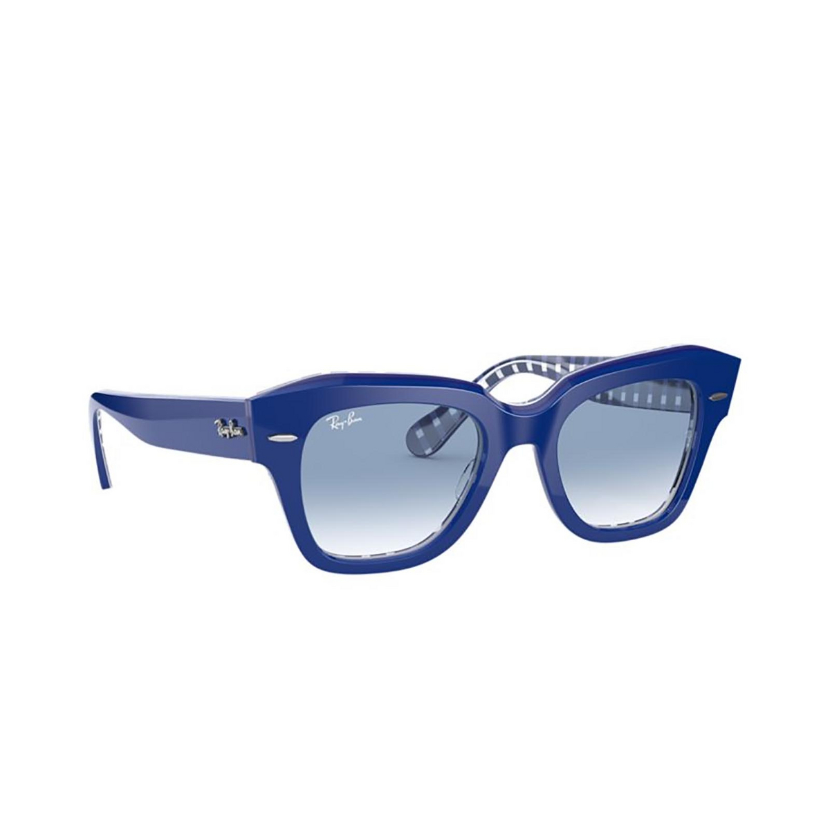 Ray-Ban® Square Sunglasses: State Street RB2186 color Blue On Vichy Blue / White 13193F - 2/3.