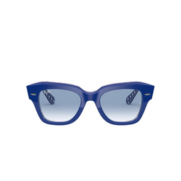 Ray-Ban® Square Sunglasses: State Street RB2186 color Blue On Vichy Blue / White 13193F.