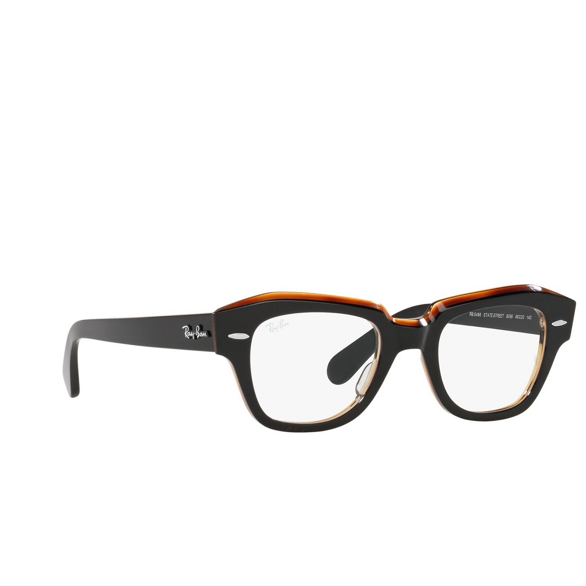 Ray-Ban® Square Eyeglasses: State Street RX5486 color Black On Transparent Brown 8096.