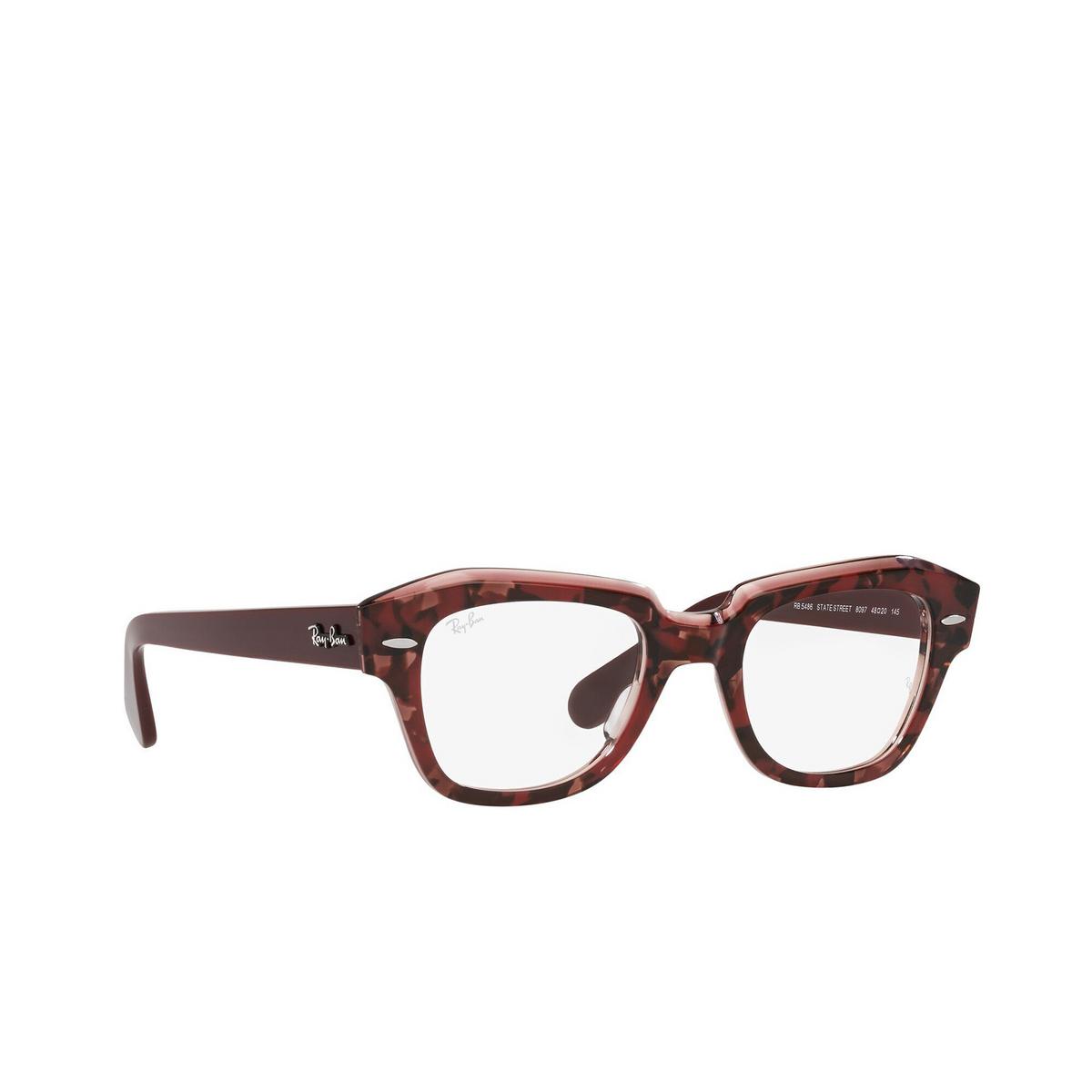 Ray-Ban® Irregular Eyeglasses: State Street RX5486 color Havana On Transparent Purple 8097 - three-quarters view.