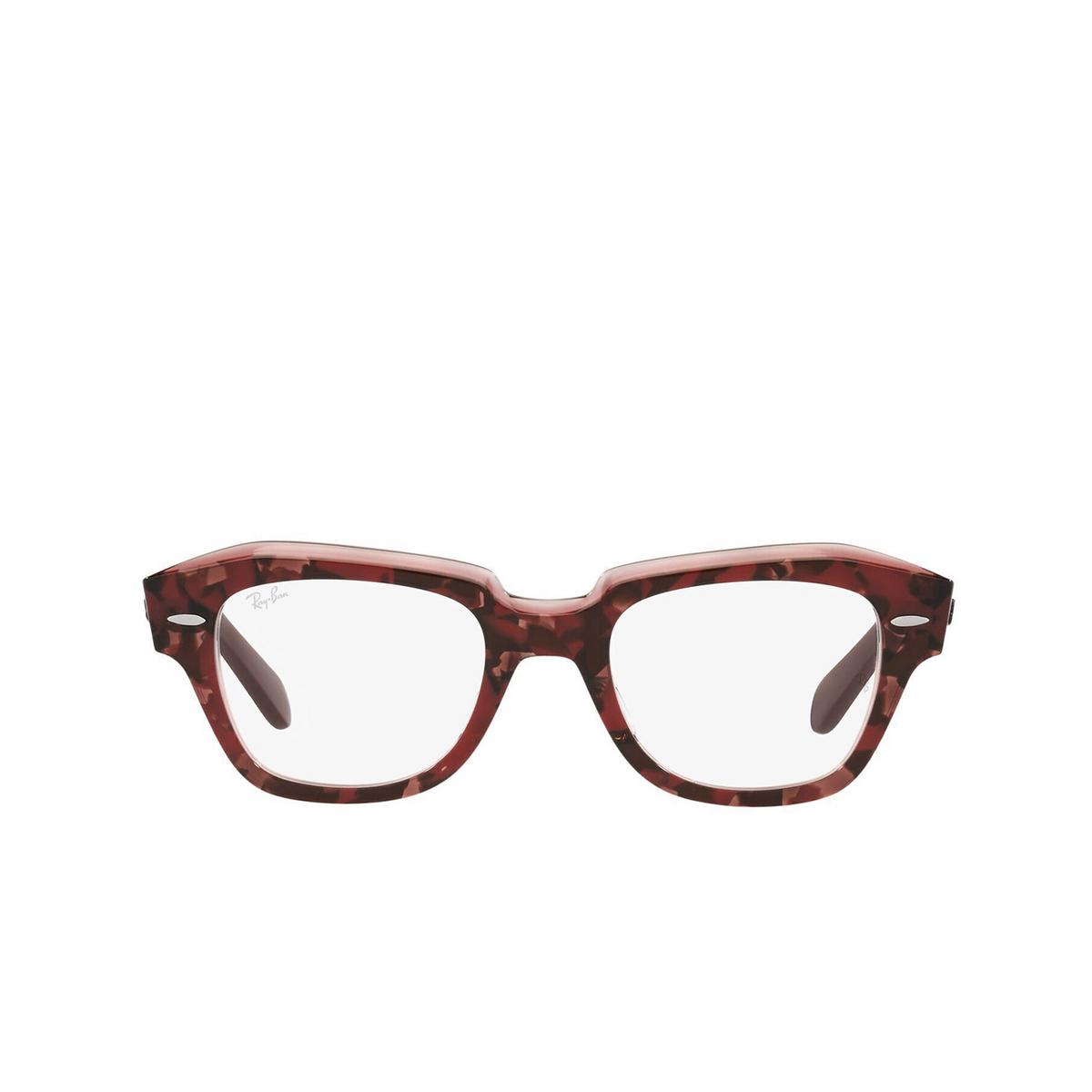 Ray-Ban® Irregular Eyeglasses: State Street RX5486 color Havana On Transparent Purple 8097 - front view.