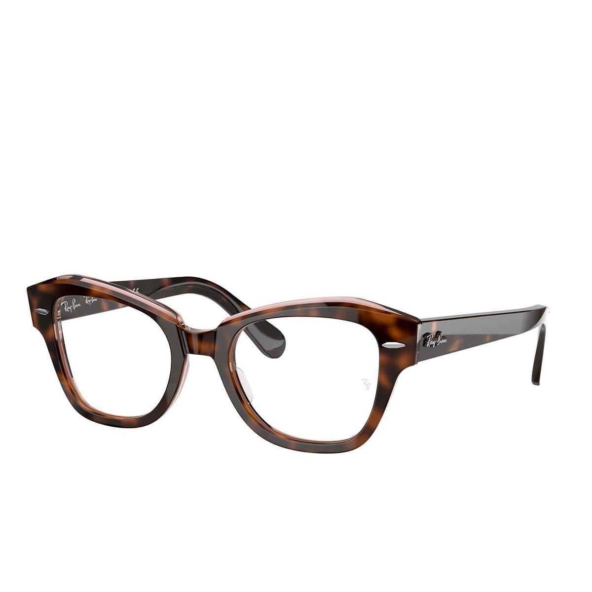 Ray-Ban® Irregular Eyeglasses: State Street RX5486 color Havana On Transparent Pink 8098.