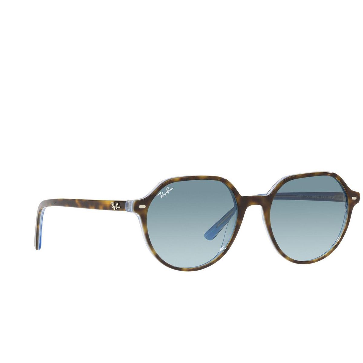 Ray-Ban® Irregular Sunglasses: Thalia RB2195 color Havana On Light Blue 13163M - 2/3.