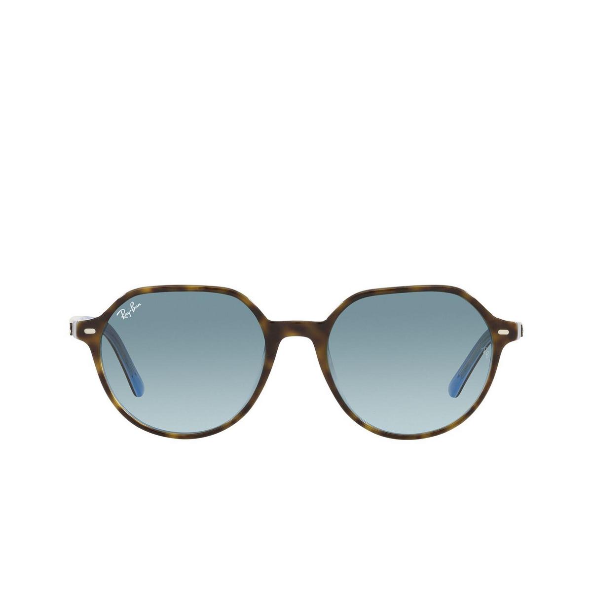 Ray-Ban® Irregular Sunglasses: Thalia RB2195 color Havana On Light Blue 13163M - 1/3.