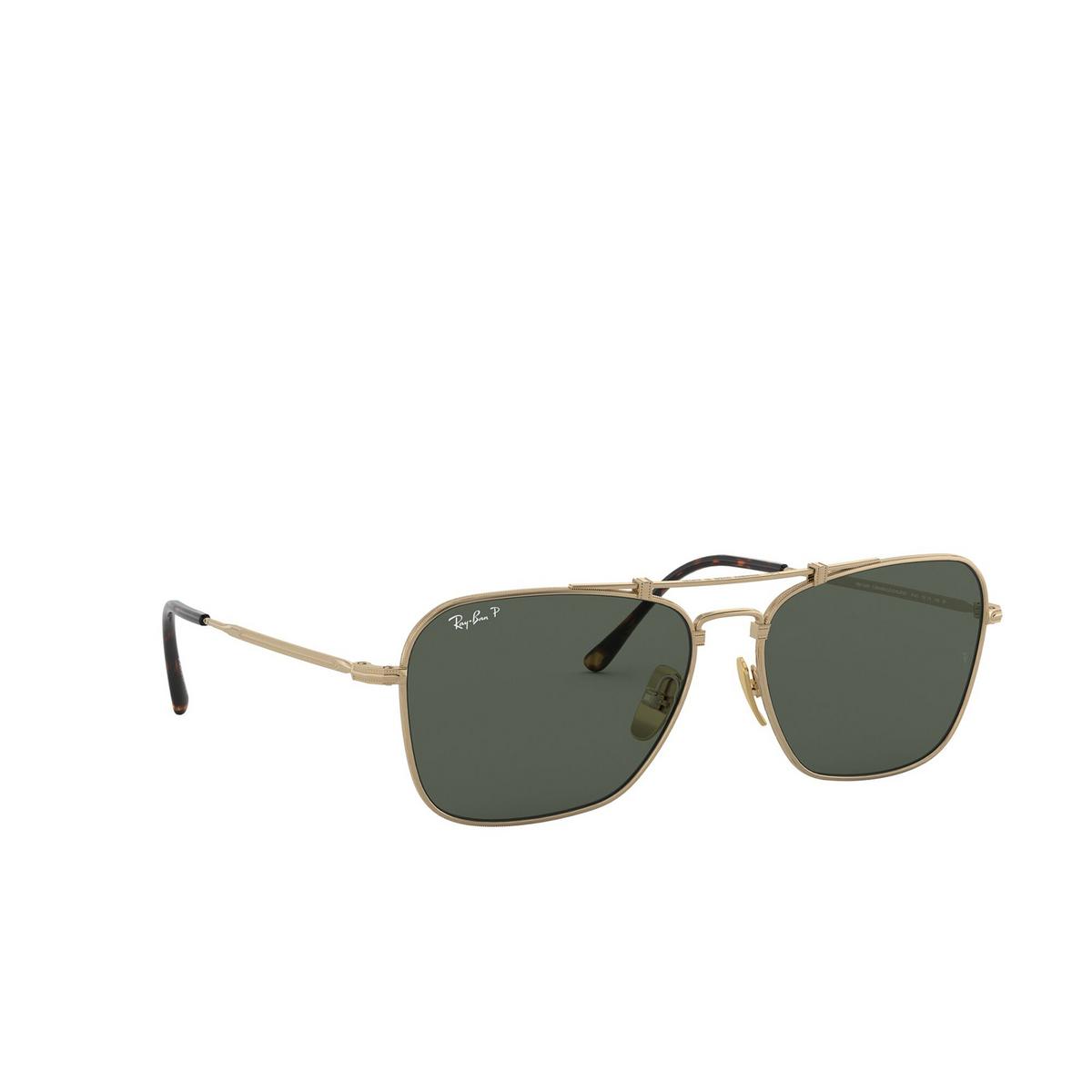 Ray-Ban® Square Sunglasses: Titanium RB8136M color Demi Gloss White Gold 9143 - three-quarters view.