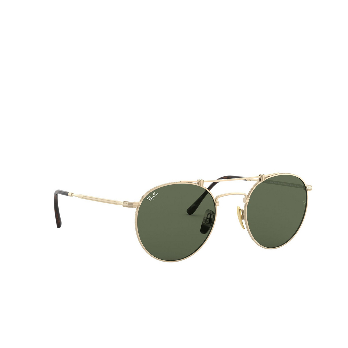 Ray-Ban® Round Sunglasses: Titanium RB8147 color Brushed Demi Gloss White Gold 913658 - three-quarters view.