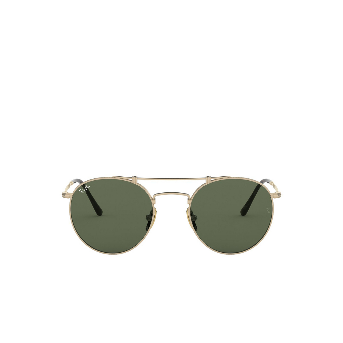 Ray-Ban® Round Sunglasses: Titanium RB8147 color Brushed Demi Gloss White Gold 913658 - front view.