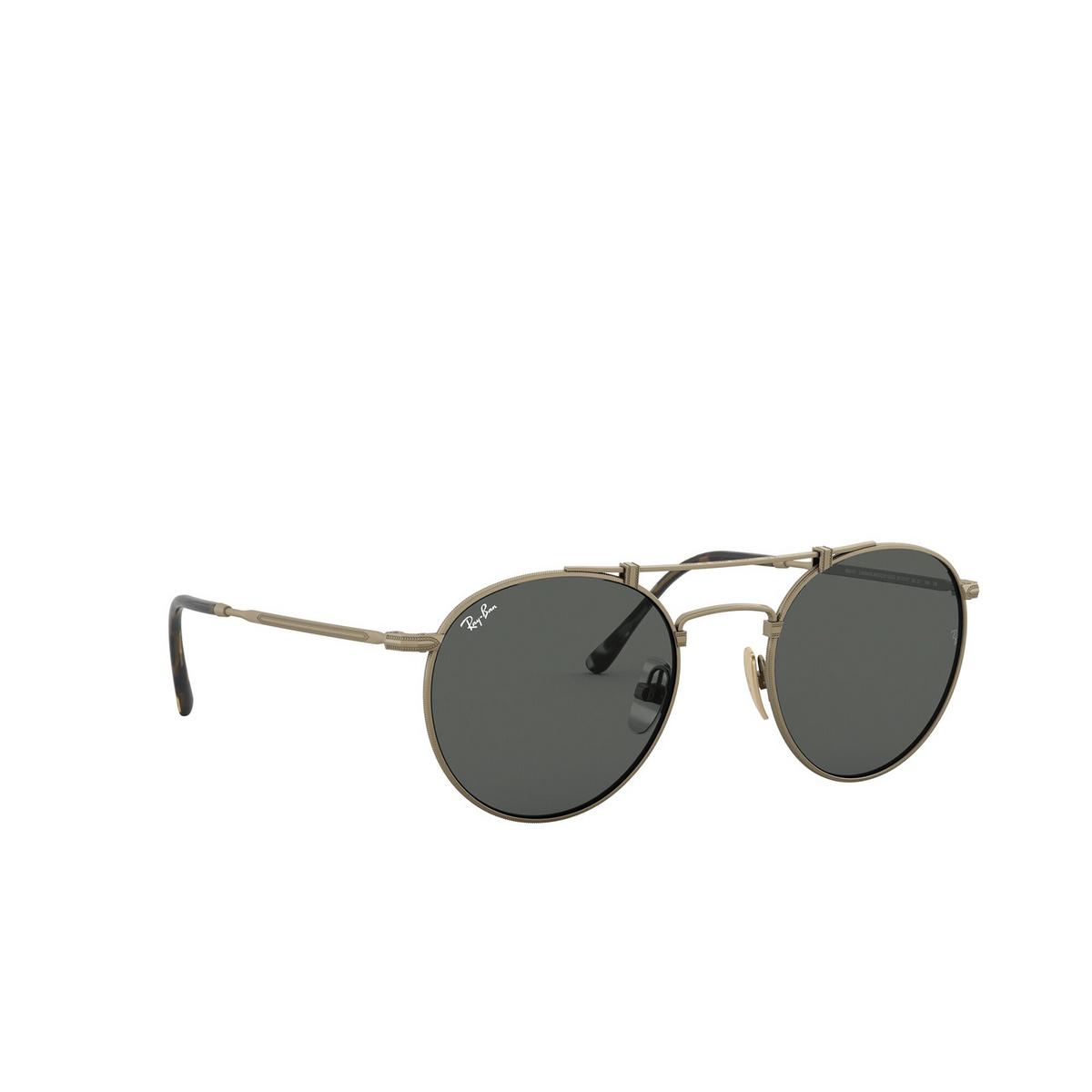 Ray-Ban® Round Sunglasses: Titanium RB8147 color Demi Gloss Antique Arista 913757 - three-quarters view.