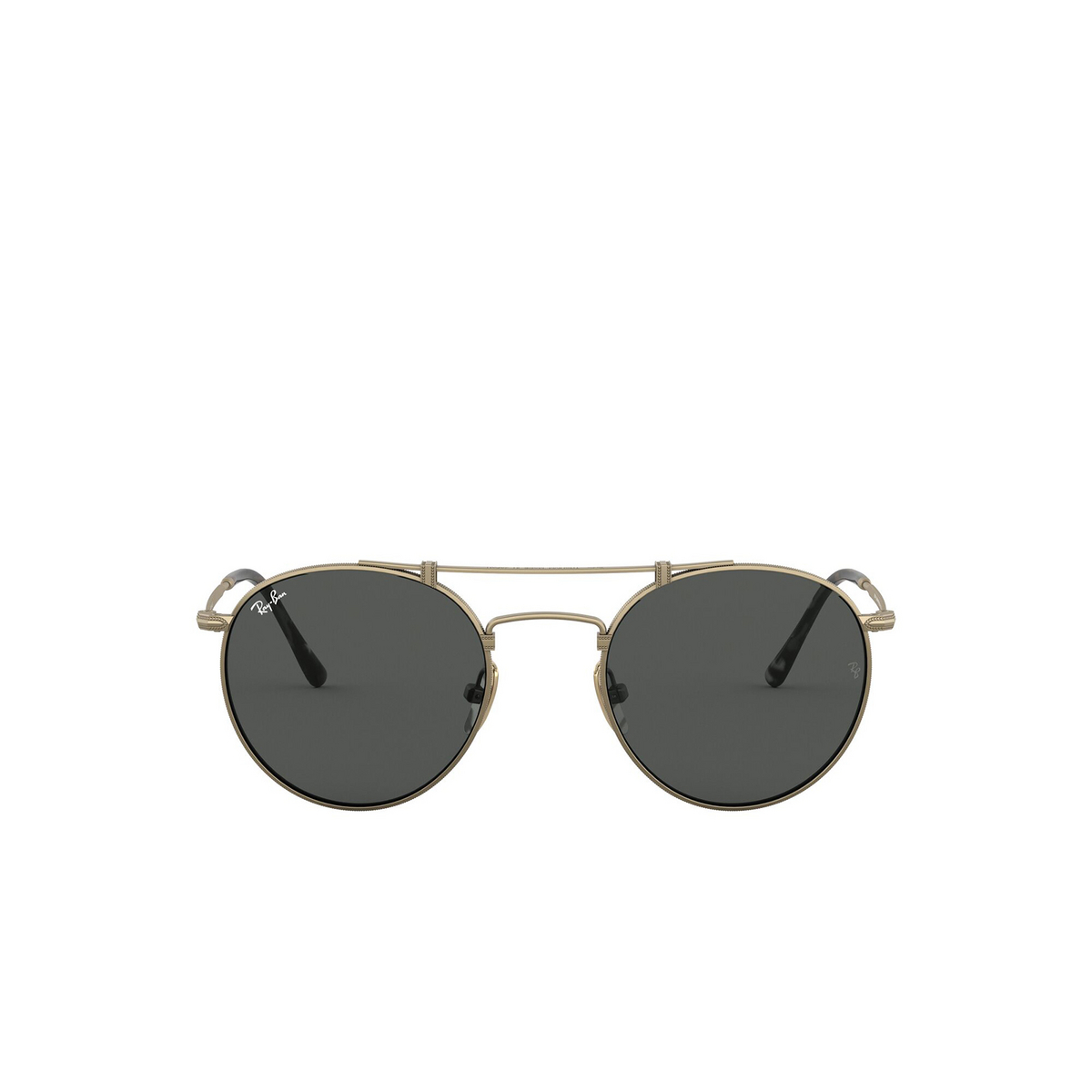 Ray-Ban® Round Sunglasses: Titanium RB8147 color Demi Gloss Antique Arista 913757 - front view.