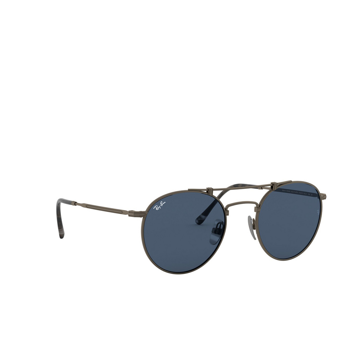 Ray-Ban® Round Sunglasses: Titanium RB8147 color Demi Gloss Pewter 9138T0 - three-quarters view.