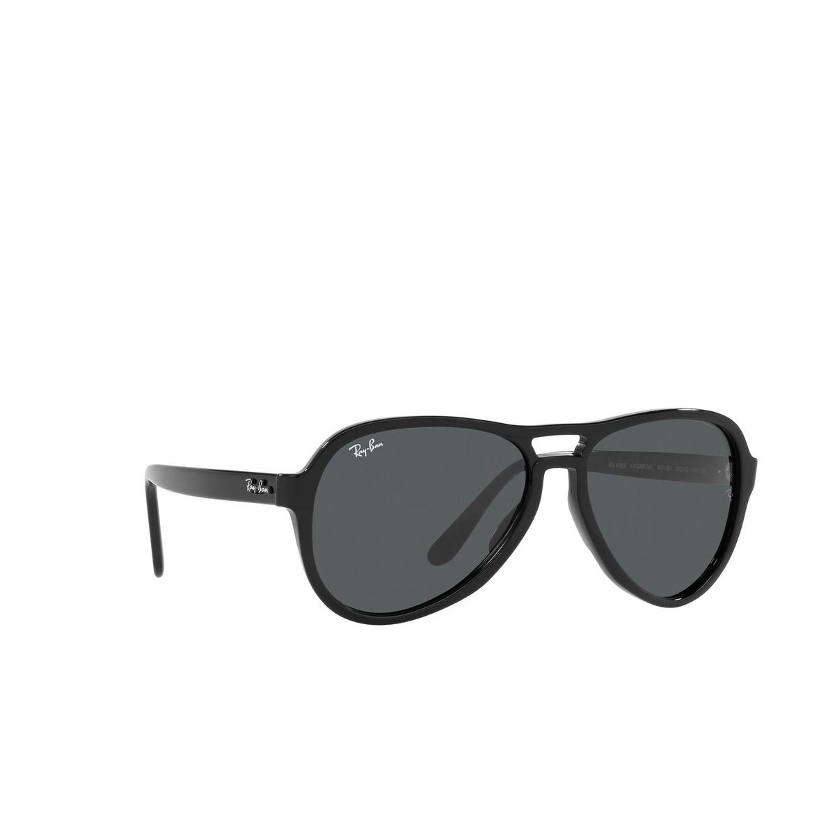 Ray-Ban® Aviator Sunglasses: Vagabond RB4355 color Black 601/B1 - three-quarters view.